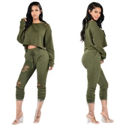 Wholesale Womens Army Green Pants - Women's Tracksuits 2017 New Spring Autumn Style Wine Red Black Army Green Bodycon Suit 2 Piece Outfits Hollow Out Pants Womens Clothing Set
