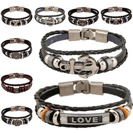 Wholesale Flower Cross - Fashion Leather Multilayer Wrap Bracelets Antique silver Skull Badge Cross Love Charms Bracelet Bangle Cuffs Fashion Jewelry 162552