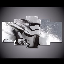 Wholesale Nude Art Oil Painting Framed - 5 Pcs Set Framed HD Printed Star Wars Stormtrooper Episode Picture Wall Art Canvas Print Decor Poster Canvas Modern Oil Painting