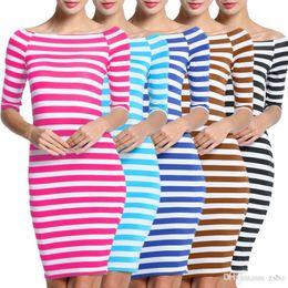 Wholesale Off Shoulder Stripes Dress - 2017 Sex Women Fashion New Colors Bodycon Elastic Dress Women Stripes Half Sleeve Knee Length Casual Off the Shoulder Pencil Dresses