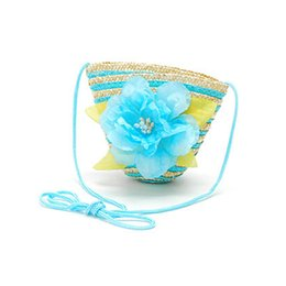 Wholesale Straw Beach Bag Baby - Wholesale-Light Blue Cute Women Girl Baby Kids Straw Shoulder Beach Messager Flower Bag