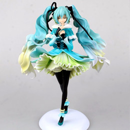 Wholesale Miku Hatsune Figurine - Japanese Anime cute Doll Hatsune Miku snow in summer sexy lovely cute cartoon doll PVC28cm box-packed japanese anime figurine world 160531