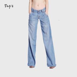 Wholesale Vintage Spandex Pants - Wholesale- 2017 New Wholesale Woman Wide Leg Washed Jeans Flare Pants Women Bell-bottom Trousers for Women Jeans Flare Plus size