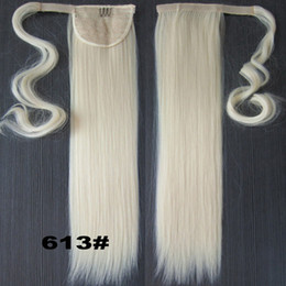 Wholesale Real Hair Hairpieces - Wholesale-Blonde 22INCH Long Straight Ponytail Pony tail Clip In Hair Extensions Real Natural Hairpiece 47Colors