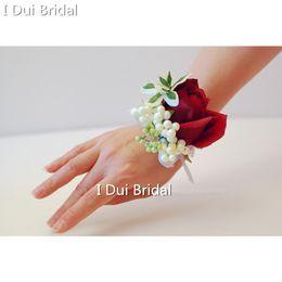 Wholesale Single Rose Decoration - Free Shipping Burgundy Dark Red Wedding Bridesmaid Wrist Flower Bride Evening Prom Party Rose Flower Decoration