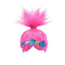 wholesale wigs hairpieces Promo Codes - 2017 Trolls Poppy Kids Wig Party children Cosplay Trolls Party Supplies Hairpiece kids cos hairpiece girl Cosplay Trolls