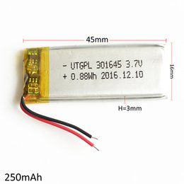 Wholesale Bluetooth Mouse Pad - Model :301645 250mAh 3.7V Lithium Polymer LiPo Rechargeable Battery cells For Mp3 Mp4 PAD DVD DIY E-books bluetooth mouse headphone headset