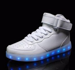 Wholesale Dance Sneakers Shoes Color - LED Shoes USB Charging Light Up Color Dance Fashion Sneakers