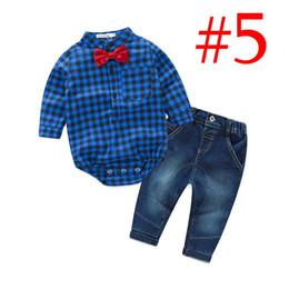 Wholesale Gentleman Style Boy Clothes - INS Cotton Boys Baby Gentleman Romper Clothing Sets Plaid Long Sleeve Newborn Rompers Jeans 2Pcs Set Toddler Onesies Boutique Bodysuit