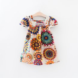 Wholesale Round Neck Short Sleeve Dress - Everweekend 2017 New Girls Chiffon Floral Party Dress Vintage Puff Sleeve Summer Party Dresses