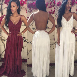 Wholesale Pencil Flare - INS Red Sexy Lace Long Dresses Summer Backless Chiffon Dresses Womens V-Neck Casual Dress Ladies Summer Club Party Dress Free Shipping