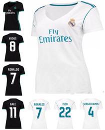 Wholesale Womens Orange Shirts - Womens Reals Madrid jersey 2017 2018 Ronaldo Soccer jersey MODRIC BALE KROOS ISCO BENZEMA football shirts Camisa JAMES jersey
