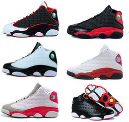 Wholesale Mens Suede Shoes Boots - Discount Mens Air Retro 13 shoes XIII Dirty bred basketball shoes black gym red black Mens women Sports Shoes Trainers Cheap Athletics Boots