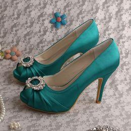 Wholesale Silver Navy Wedding Shoe - Wedopus Olive Green Peep Toe Shoes Wedding High Heels Women Dropshipping