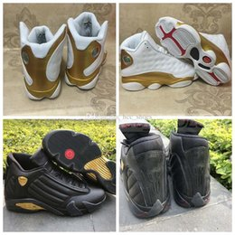 2017 entraîneur de chaussures de basket-ball rétro 2017 Air Retro 13 14 DMP Pack Chaussures de basket-ball Retros 13s 897563 900 Black White Gold Shoes 1998 Trainer Sports Shoes Taille 41-47 entraîneur de chaussures de basket-ball rétro sur la vente