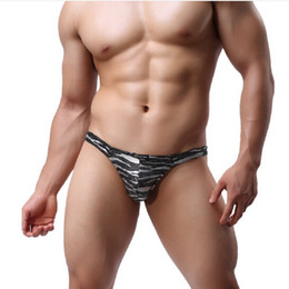 Wholesale Exotic Man Thongs - Hot Selling Men's Sexy Briefs G-strings Thongs Exotic Gold Silver Leopard panties Underwear T-back,1pcs lot