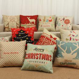 Wholesale Tree Cushion Covers - Elk Christmas Tree Pillow Case Pillow Covers Cotton Linen Pillowcase Home Sofa Car Decor Cushion 11 Color 45*45cm Free shipping WX-P05