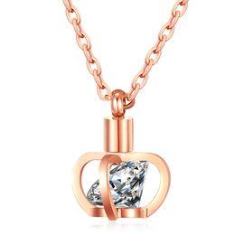 Wholesale Rose Zircon Necklace - hot sale Fashion stainless steel jewelry Princess Crown zircon crystal stone titanium steel rose gold pendant diamond choker necklace