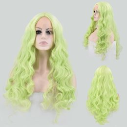 Wholesale Green Wavy Long Synthetic Wig - Light green Long Wavy Lace front Wig Synthetic Hair High Temperature Fiber 24inches For Women Wig