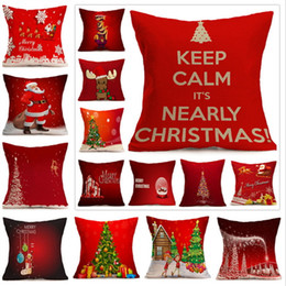 Wholesale Pillow Balls - Christmas Pillow Case Cushion Cover Pillowcase Printing Christmas Tree Reindeer Santa Candy Ball Square Decorative Pillow Covers
