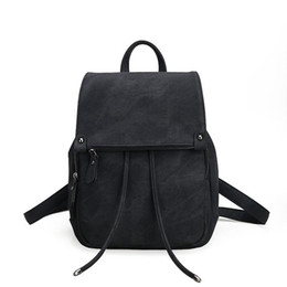 Wholesale Rucksack Leather - Rucksack School Bag Girls Backpacks for Teenage Girls Bags Vintage Women Backpack High Quality PU Leather Mochila