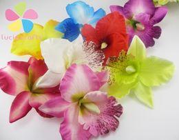 Wholesale Orchid Heads - Wholesale-6pcs Silk Moth Orchid Flower Girls Head Flower Decorative Flowers & Wreaths Accessories 027017007