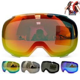 Wholesale Men Snowboard Goggles - Wholesale- Original Magnetic Lens for ski goggles GOG-2181 anti-fog UV400 spherical ski glasses snow Snowboard goggles