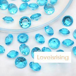 Wholesale Party Table Favors - 18 Colors--1000pcs lot 10mm (4 Carat) Aqua Blue Diamond Confetti Faux Acrylic Bead Table Scatter Wedding Favors Party Decor--Free Shipping
