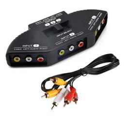 Wholesale Video Game Switches - Hot High Quality Selector 3 Ports Video Switcher Game AV Signal Switch Cable AV RCA AV Splitter Audio Converter for XBOX for PS TV