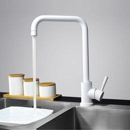 Wholesale Paint Kitchen Faucet - Multi Color Single Handle Kitchen Faucet Mixer Single Hole 360 Rotate Kitchen Tap Stainless Steel Paint Finish Sink Mixer Taps