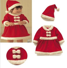 Wholesale Wholesale Corduroy Hats - Wholesale Baby Kid girls Boys Christmas Suits Xmas Santas Clothes Jumpsuits + Hat Cosplay Outfit toddler dress up clothing