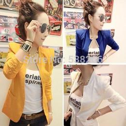 Wholesale Ladies White Shrugs - Wholesale- Free Shipping 2016 New Women Lady Korea Fashion Metal Collar Slim Shrug Coat suit black blue white yellow red S M L JA4