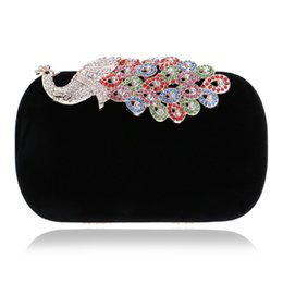 Wholesale Evening Peacock Clutch Handbags - Wholesale-NEW Diamond Handbag Evening Bag Purse Elegant Peacock Clutch Purse Evening Bags For Party Handbags
