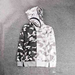 Wholesale Women Fleece Hooded Long Cardigan - New Luminous Shark Printing Plus Cashmere Sweater Men Women White Camo Hooded Jacket Wom Fashion Cardigan Leisure Fleece Jecket Hoodies Tops