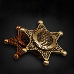Wholesale Wholesale Police Toys For Kids - New American EDC Fingertips Gyro Metal Hexagonal Retro Police Long Alloy Spinner Six Leaves Fidget Spinner for Adults Decompression Toys