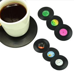 Conjunto giratorio online-CD Taza Mat Decoración Creativa Café Drink Placemat Spinning Retro Vinilo CD Record Bebidas Posavasos 6 Unids / set