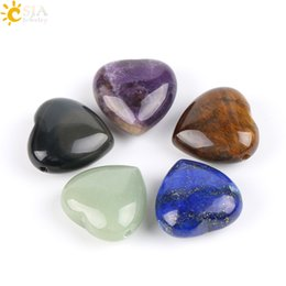 Wholesale Gemstone Charm Beads - CSJA New Fashion Love Heart Shaped Healing Crystal Gemstone Charms Necklace Pendant Women Lovely Pink Purple Quartz Amethyst Jewelry E570