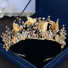 Wholesale Large Rhinestone Resin - Vintage Flower Leaf Butterfly Champagne Beads Crystals Wedding Crowns Large Size Bridal Tiara Crown Hair Accessories Party Wedding Evening