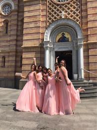 um ombro vestido de chiffon doce Desconto Doce rosa plissados chiffon vestidos de dama de honra 2017 top venda custom made até o chão de um ombro longo maid do partido vestido barato
