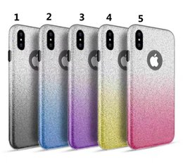 Wholesale Case Change - For Iphone x 3in1 gradual change glitter powder Soft TPU+PC Protector Phone Case for Iphone 6 6plus 7 8 x