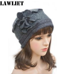 Wholesale-A125 Dark Gray Flower waves trimmed Womens Wool Beanie Cap Dress Crochet  winter Hat bee30f3e7581
