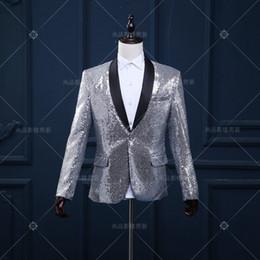 Wholesale Natural Jazz - fashion sequin casual jacket blazer singer dancer show male DS dance costumes outerwear coat DJ jazz nightclub performance stage prom