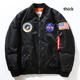 Wholesale Red Military Coat - Fall-Flight Pilot Jacket Coat Black Green Bomber Ma1 Men Bomber Jackets Nasa Embroidery Baseball Military Coats with Zipper M-XXL