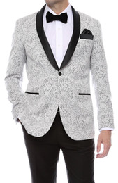 Wholesale Mens Wedding Tuxedos - Gramercy Mens Silver Tapestry Super Slim Fit Groom Tuxedos 2016 Side Groomsmen Mens Wedding Prom Suits Custom Made (Jacket+Pants+Tie