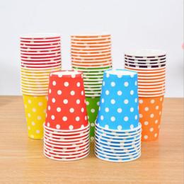 Vasos desechables coloridos online-Venta al por mayor- 2017 coloridos lunares papel tazas desechables vajilla boda cumpleaños decoraciones de mesa tazas desechables