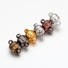Wholesale Antique Brass Magnetic Clasps - 100 Sets Oval Brass Magnetic Clasps Jewelry Findings Platinum Golden Silver Black Antique Bronze Red Copper 11x7mm, Hole: 1.5mm