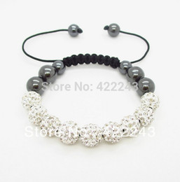 Wholesale Shamballa Pieces - Wholesale-New Arrivel Shamballa Bracelets 10mm white 9 pieces Crystal Ball Shambala Jewelry