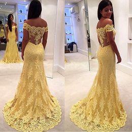 Argentina Off hombro barco cuello Graceful vestidos de noche de encaje amarillo sirena vestidos formales trasero trasero graduación vestidos de fiesta vestido sereia Suministro