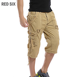 six pockets Promo Codes - Wholesale-RED SIX New summer pocket decorate mens shorts Casual cargo shorts men Loose work trousers Plus size 29-38 L184