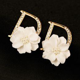 Wholesale European Stud Earrings - European Style Women Zircon Letter Earrings 18K Gold Plated White Pearl Flower Stud Earrings for Party Brand Jewelry